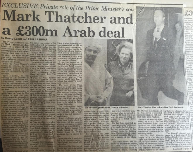 Mark Thatcher page one 1984