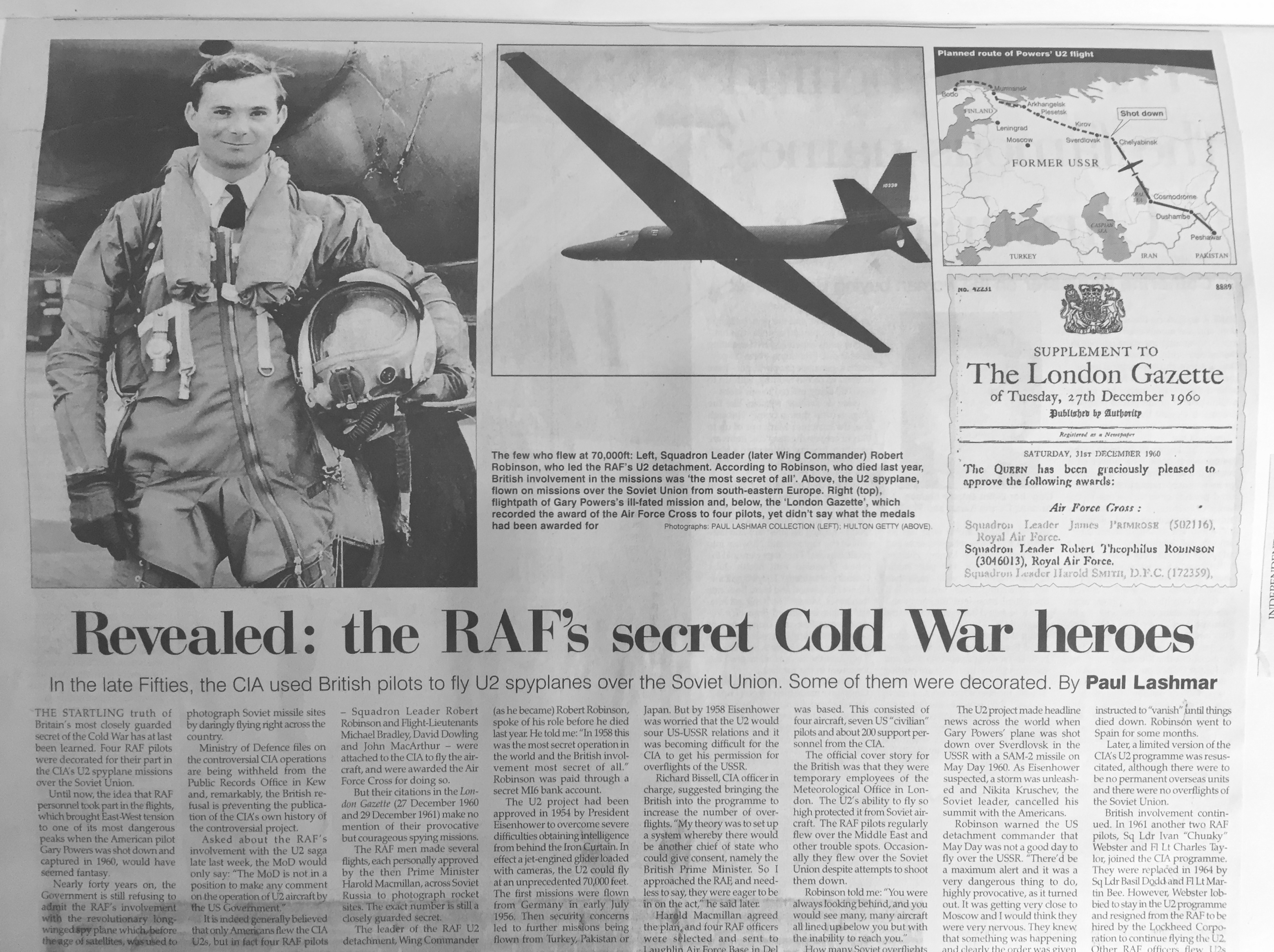 Secret U2 Flights of the Cold War – 20 years since this story.