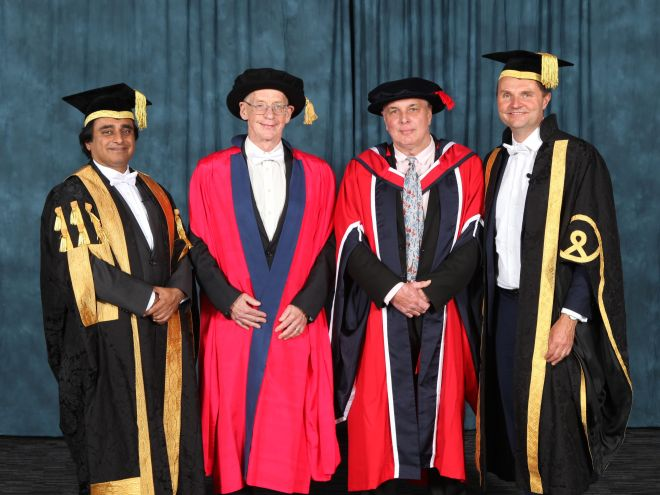 Graduation - Duncan and Paul with Chancellor and Vice Chancellor